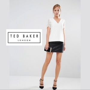 Ted Baker London White Jessin Lace Sleeve Blouse